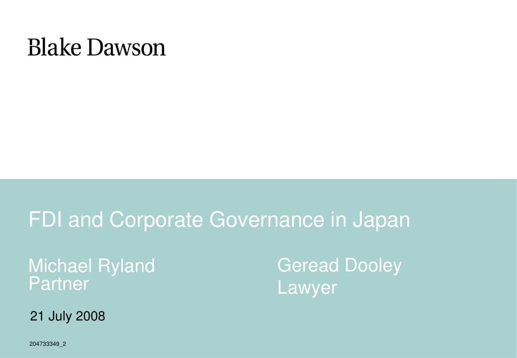 fdi and corporate governance in japan l.