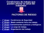 condiciones de trabajo que pueden afectar la salud del trabajador