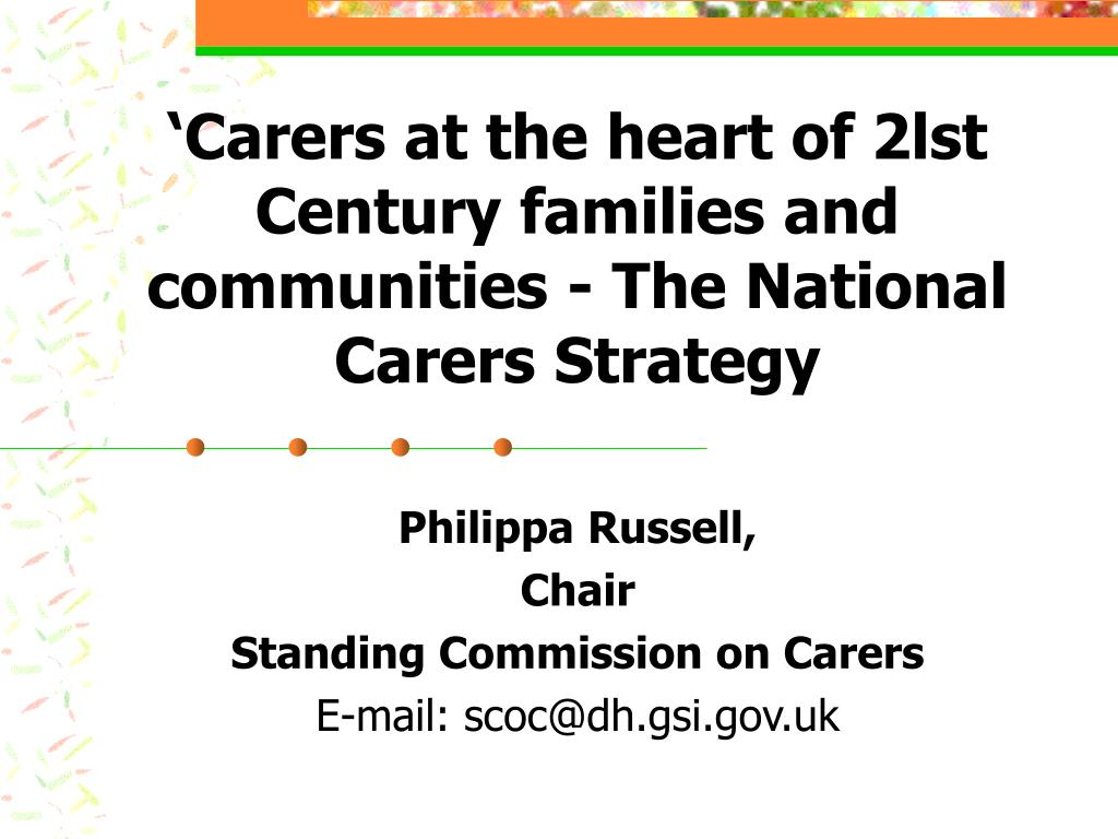 carers at the heart of 2lst century families and communities the national carers strategy l.