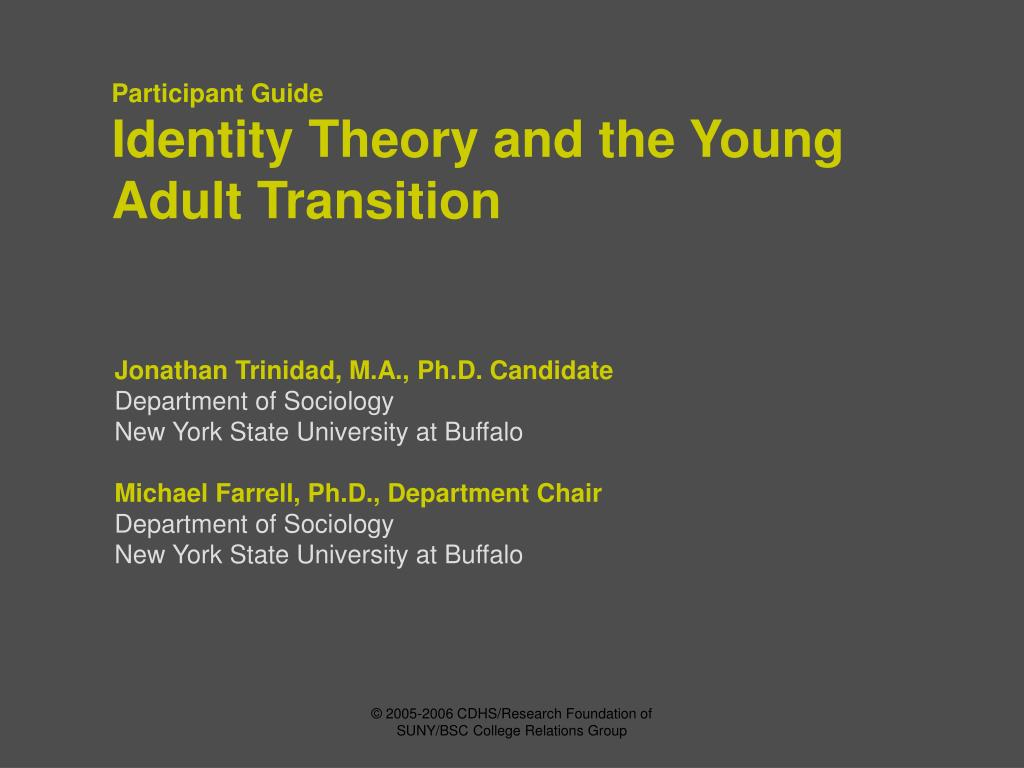 identity theory and the young adult transition l.