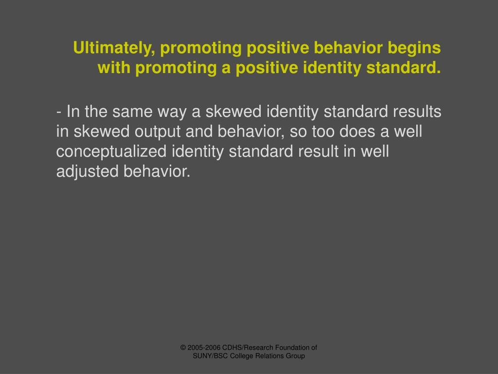 Ultimately, promoting positive behavior begins with promoting a positive identity standard.