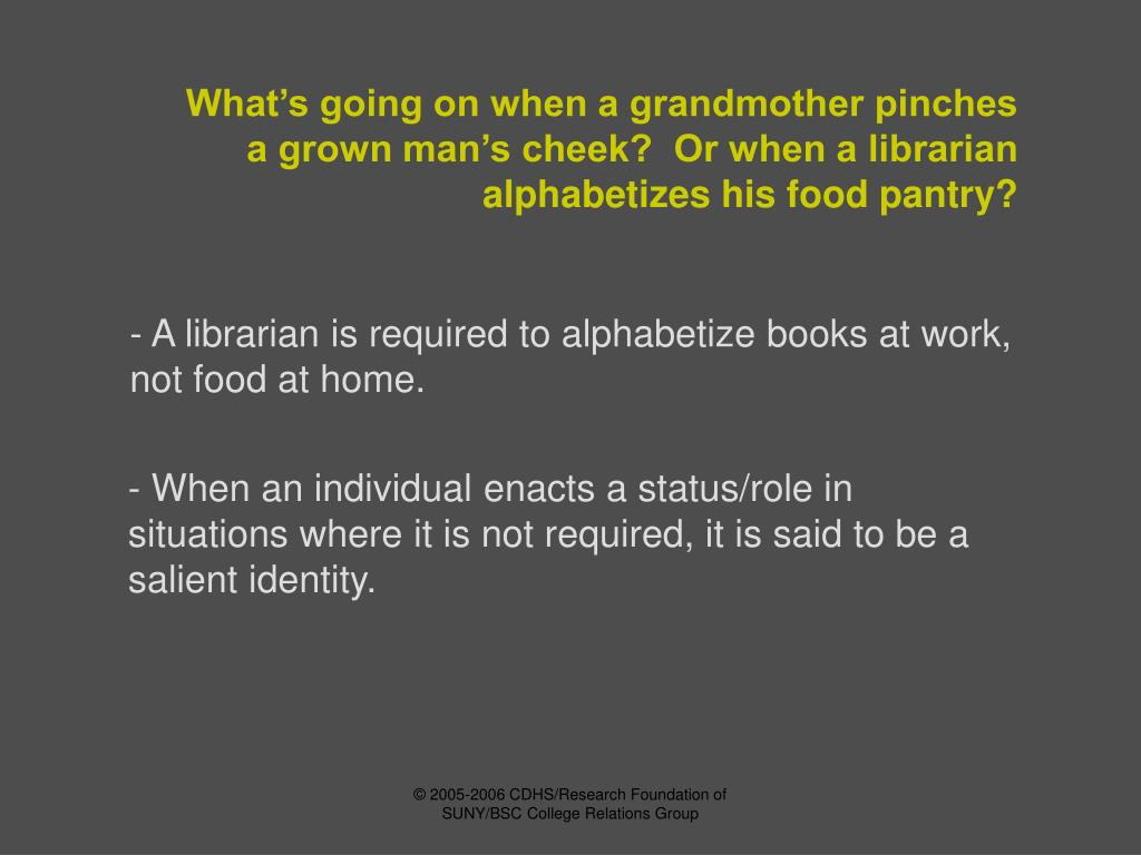 What's going on when a grandmother pinches a grown man's cheek?  Or when a librarian alphabetizes his food pantry?