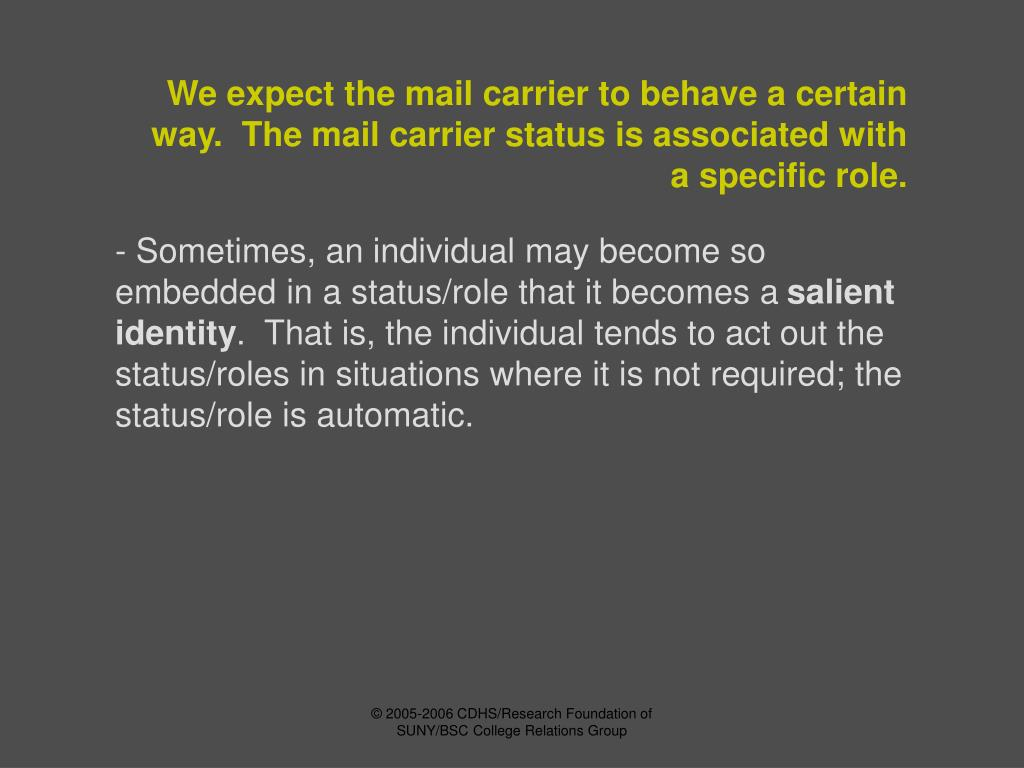 We expect the mail carrier to behave a certain way.  The mail carrier status is associated with a specific role.