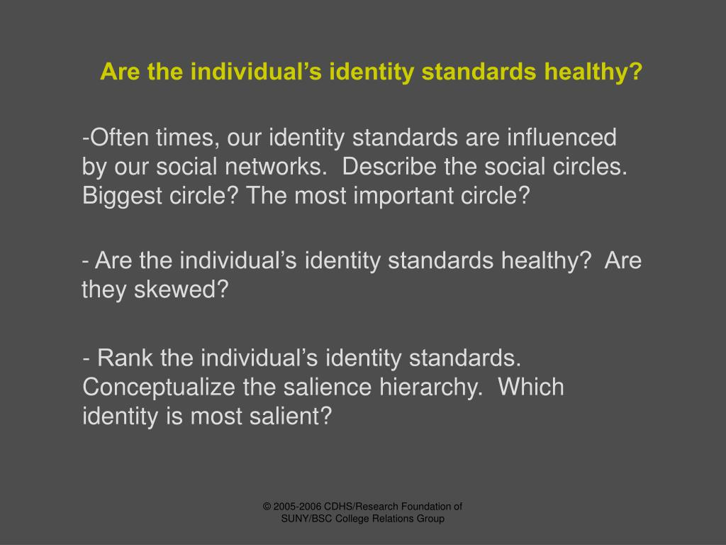 Are the individual's identity standards healthy?