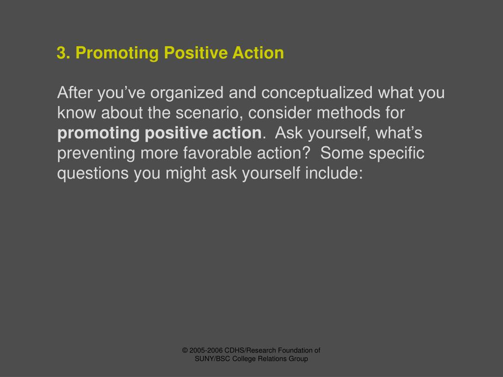 3. Promoting Positive Action