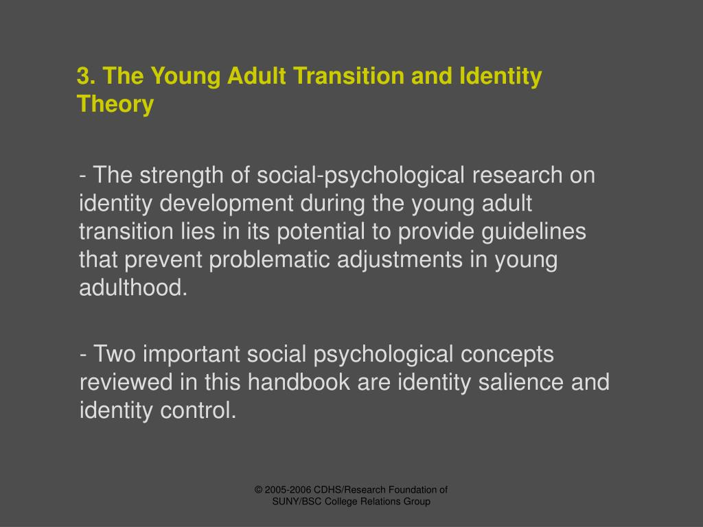 3. The Young Adult Transition and Identity Theory