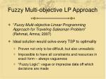fuzzy multi objective lp approach