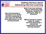 getting serious about advancing service learning