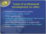 types of professional development on offer
