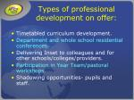 types of professional development on offer10
