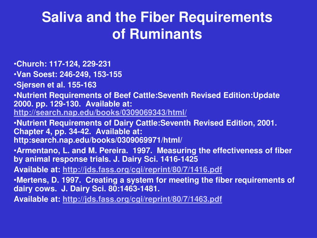 saliva and the fiber requirements of ruminants l.