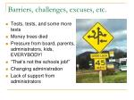 barriers challenges excuses etc