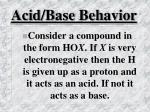 acid base behavior