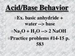 acid base behavior33