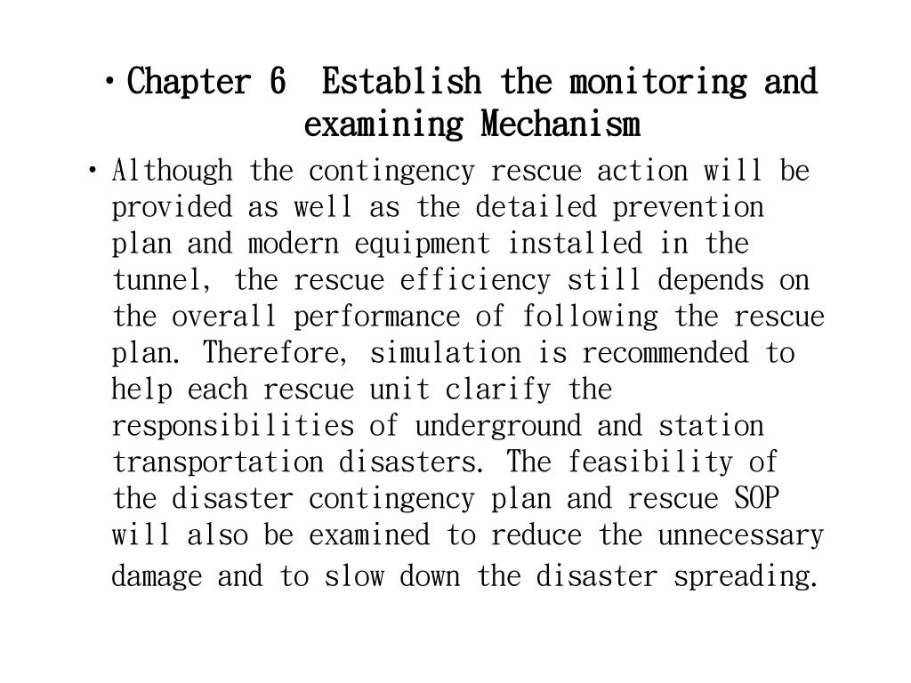 Chapter 6  Establish the monitoring and examining Mechanism