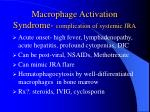 macrophage activation syndrome complication of systemic jra
