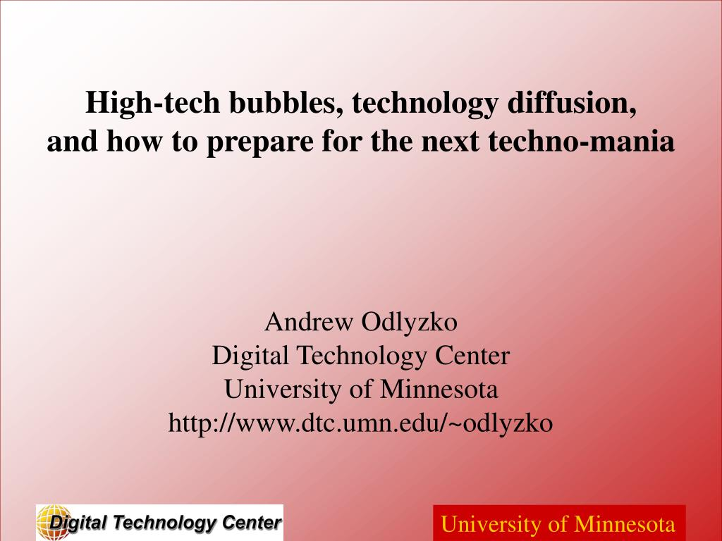 High-tech bubbles, technology diffusion,