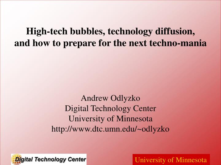 High tech bubbles technology diffusion and how to prepare for the next techno mania