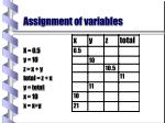 assignment of variables