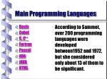 main programming languages