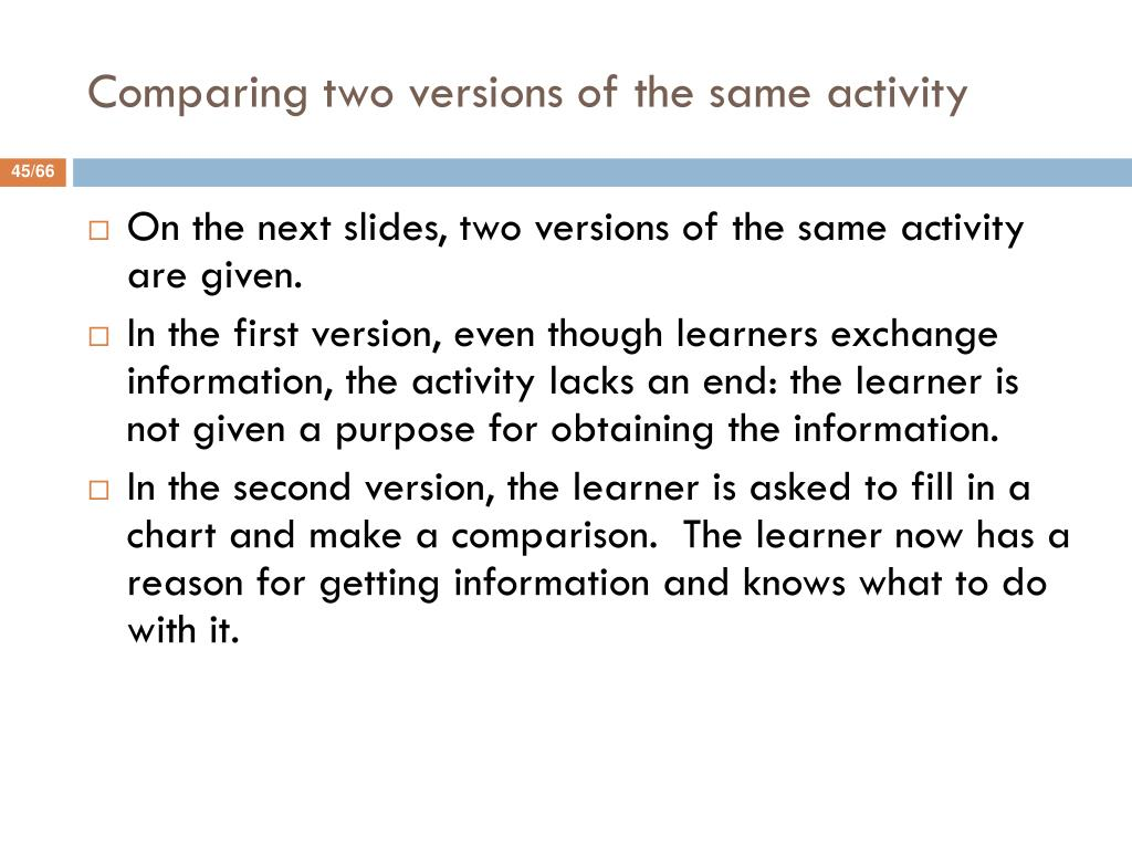Comparing two versions of the same activity