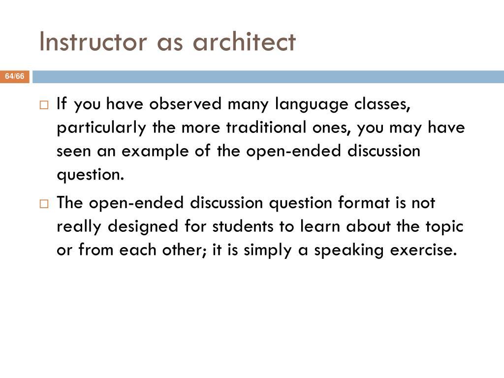 Instructor as architect