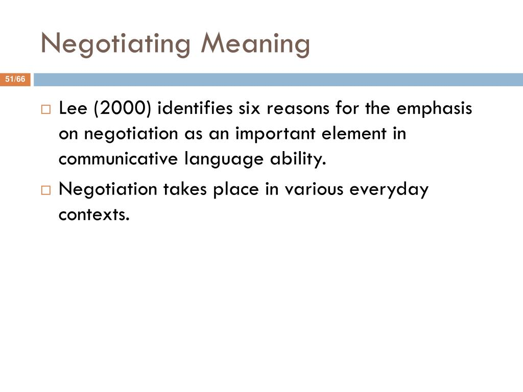 Negotiating Meaning