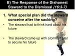 b the response of the dishonest steward to the dismissal 16 3 7