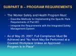 subpart b program requirements7