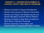 subpart c worker involvement in 10cfr851 safety and health program