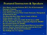 featured instructors speakers