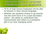 vision for second language education in new brunswick