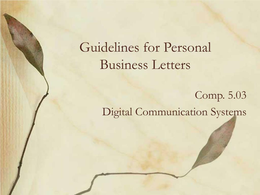 guidelines for personal business letters l.
