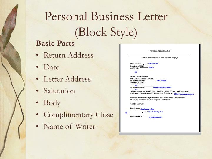 Ppt Guidelines For Personal Business Letters Powerpoint