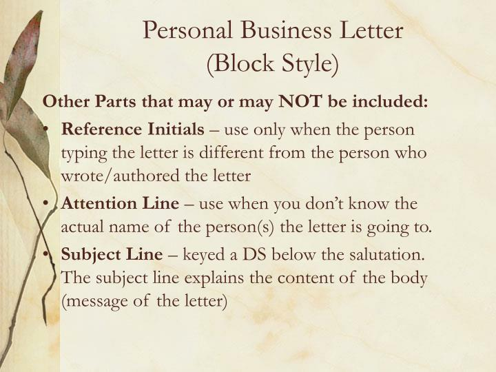 personal business letterblock style