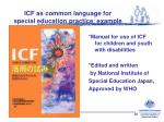 icf as common language for special education practice example