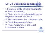 icf cy uses in documentation