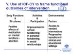 v use of icf cy to frame functional outcomes of intervention