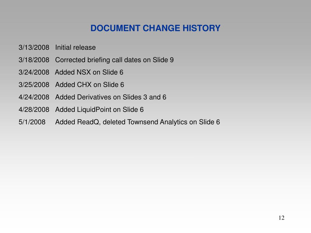 DOCUMENT CHANGE HISTORY