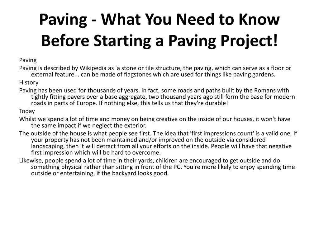 paving what you need to know before starting a paving project l.