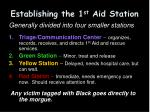 establishing the 1 st aid station