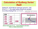 calculation of rydberg series radii