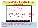forming fields from rydberg s equation