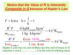 notice that the value of r is inherently composite in g because of kepler s law