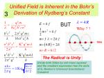unified field is inherent in the bohr s derivation of rydberg s constant