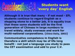 students want every day english