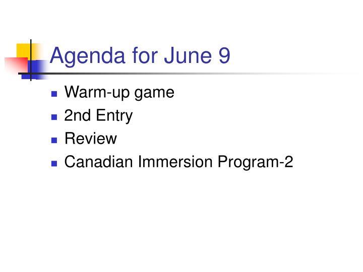 Agenda for june 9