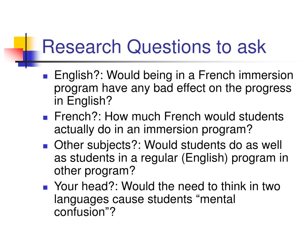 Research Questions to ask