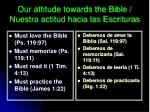 our attitude towards the bible nuestra actitud hacia las escrituras