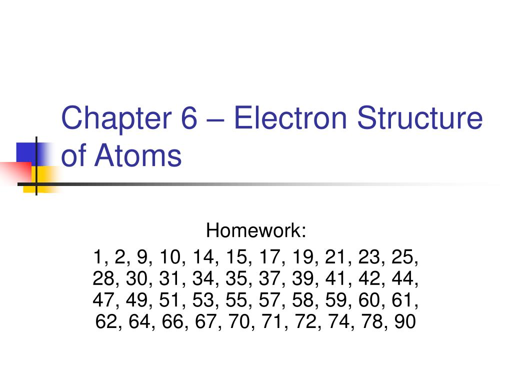 chapter 6 electron structure of atoms l.
